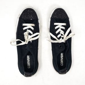 Converse   Black Sparkly Womens Lace Up Sneakers